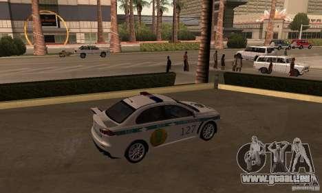 Mitsubishi Lancer Evolution X Polizei von Kasach für GTA San Andreas linke Ansicht