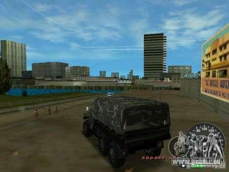 Ural 4320 militaire pour GTA Vice City sur la vue arrière gauche