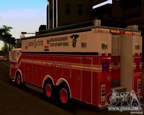 Pumper Firetruck Pierce F.D.N.Y pour GTA San Andreas sur la vue arrière gauche