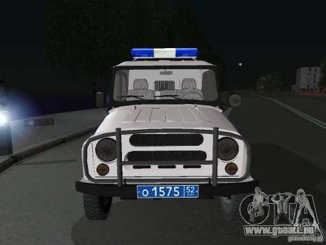 UAZ-31512 Police pour GTA San Andreas vue arrière