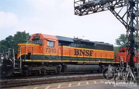 Locomotive SD 40 Union Pacifique BNSF pour GTA San Andreas vue arrière