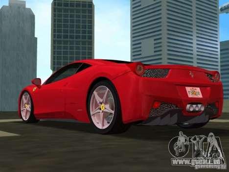 Ferrari 458 Italia pour GTA Vice City vue arrière