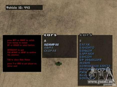 Fahrzeug-Spawner Premium-Spauner-Maschinen für GTA San Andreas zweiten Screenshot