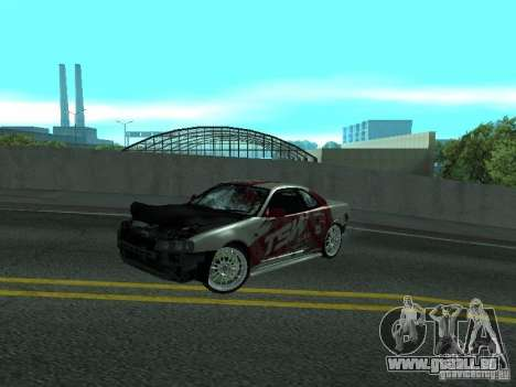 Nissan Skyline R 34 pour GTA San Andreas vue intérieure