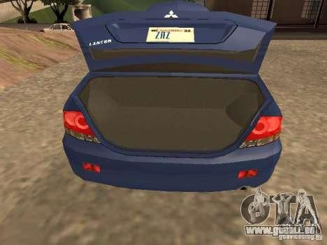 Mitsubishi Lancer 1.6 pour GTA San Andreas vue arrière