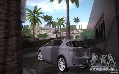Lexus CT200H 2011 für GTA San Andreas zurück linke Ansicht