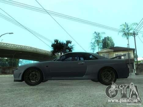 Nissan Skyline GT-R34 V-Spec pour GTA San Andreas laissé vue