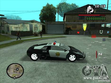 Lamborghini Murcielago Police für GTA San Andreas Innenansicht
