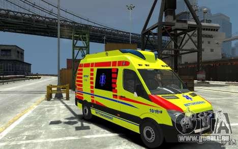 Mercedes-Benz Sprinter 2011 Ambulance pour GTA 4 Vue arrière