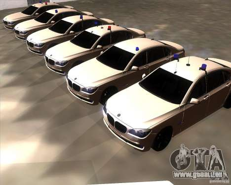 BMW 750Li 2010 pour GTA San Andreas vue intérieure