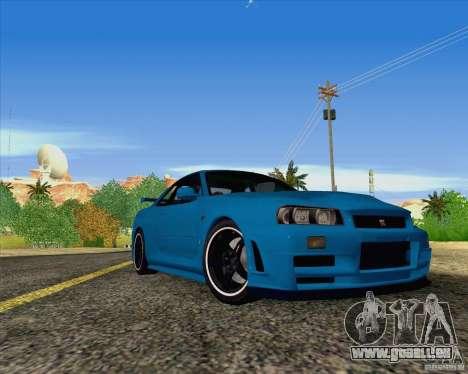 Nissan Skyline R34 Z-Tune V3 pour GTA San Andreas sur la vue arrière gauche
