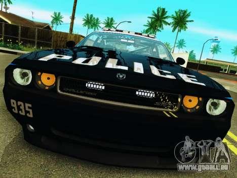 Dodge Challenger SRT8 2010 Police pour GTA San Andreas laissé vue