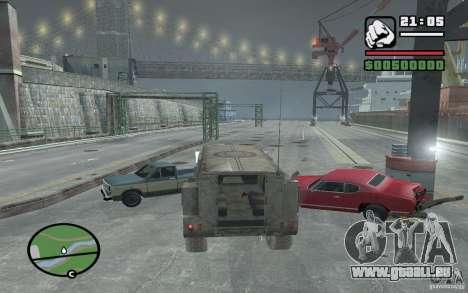 Camion militaire pour GTA San Andreas vue intérieure