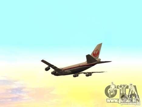 Boeing 747-100 Japan Airlines für GTA San Andreas Seitenansicht