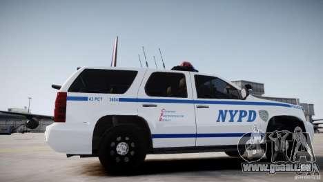 Chevrolet Tahoe 2012 NYPD pour GTA 4 Vue arrière de la gauche
