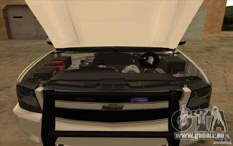 Chevrolet Avalanche Orange County Sheriff für GTA San Andreas zurück linke Ansicht