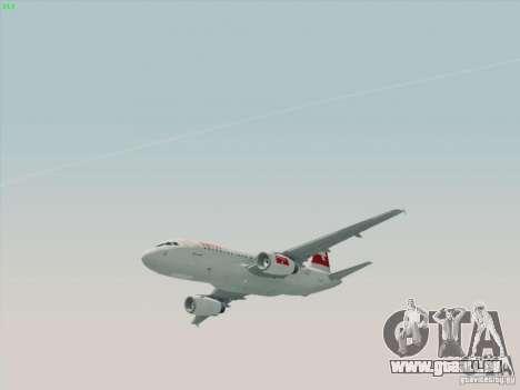 Airbus A319-112 Swiss International Air Lines pour GTA San Andreas sur la vue arrière gauche