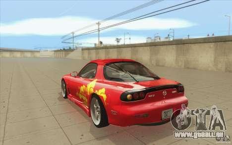 Mazda RX-7 - FnF2 pour GTA San Andreas sur la vue arrière gauche