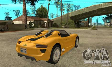 Porsche 918 Spyder pour GTA San Andreas vue de droite
