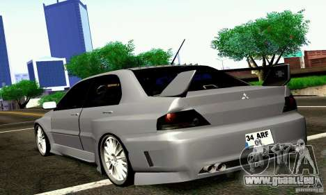 Mitsubishi Lancer Evo VII pour GTA San Andreas laissé vue