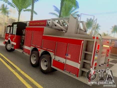 Pierce Tower Ladder 54 Chicago Fire Department pour GTA San Andreas sur la vue arrière gauche