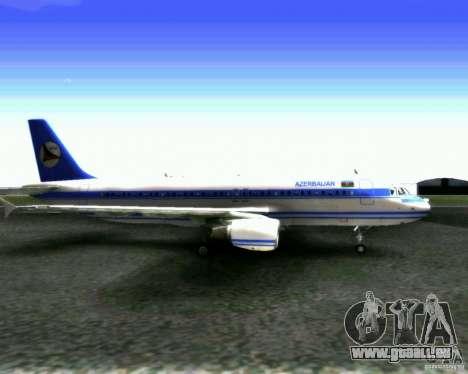 Airbus A-320 Azerbaijan Airlines pour GTA San Andreas sur la vue arrière gauche