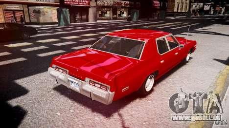Dodge Monaco 1974 stok rims pour GTA 4 est un côté