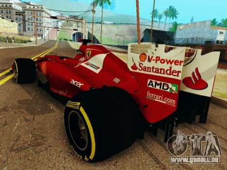 Ferrari F2012 pour GTA San Andreas sur la vue arrière gauche