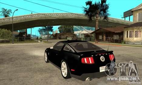 Ford Shelby GT 500 2010 pour GTA San Andreas sur la vue arrière gauche