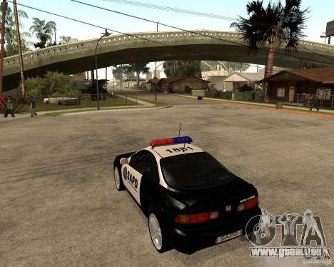Honda Integra 1996 SA POLICE pour GTA San Andreas sur la vue arrière gauche