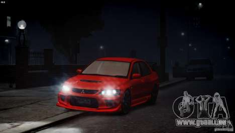 Mitsubishi Lancer Evolution 8 v2.0 pour GTA 4 est une vue de l'intérieur