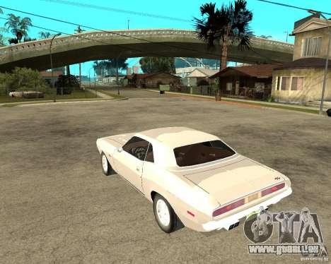 Dodge Challenger R/T Hemi 70 pour GTA San Andreas laissé vue