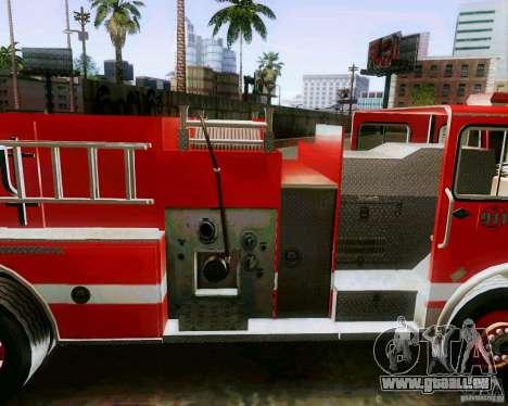 Pumper Firetruck Los Angeles Fire Dept pour GTA San Andreas sur la vue arrière gauche