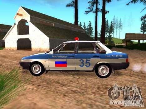 VAZ 2109 Police pour GTA San Andreas laissé vue