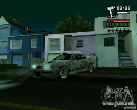 Nissan Skyline für GTA San Andreas zurück linke Ansicht