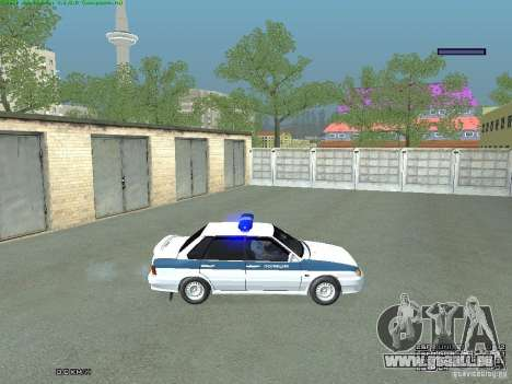 VAZ 2115 PPP Police pour GTA San Andreas sur la vue arrière gauche