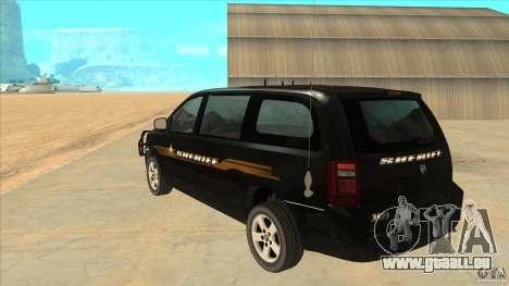 Dodge Caravan Sheriff 2008 pour GTA San Andreas sur la vue arrière gauche