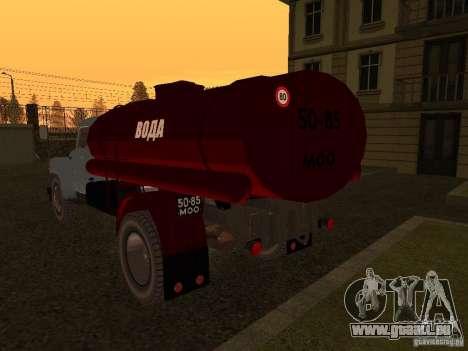 Porteur d'eau GAZ 53 pour GTA San Andreas sur la vue arrière gauche