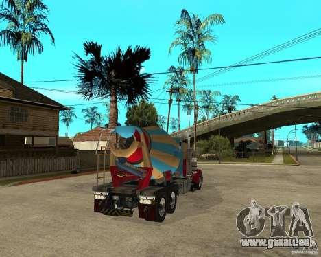 Kenworth W900 CEMENT TRUCK für GTA San Andreas zurück linke Ansicht