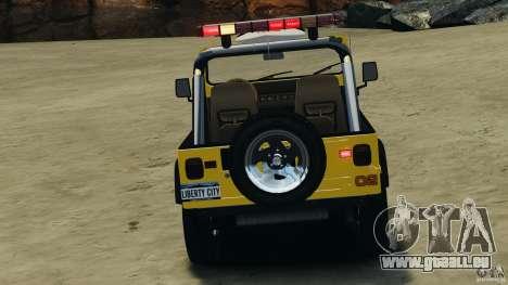 Jeep Wrangler 1988 Beach Patrol v1.1 [ELS] pour GTA 4 vue de dessus