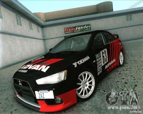 Mitsubishi Lancer Evolution X 2008 pour GTA San Andreas vue arrière