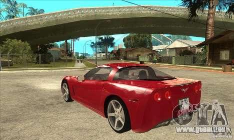 Chevrolet Corvette C6 Z51 - Stock für GTA San Andreas zurück linke Ansicht