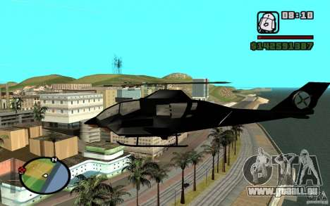 Urban Strike helicopter für GTA San Andreas zurück linke Ansicht