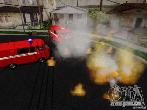 UAZ 3909 incendie pour GTA San Andreas vue de droite