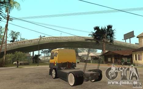 Mercedes Benz Actros Dragster pour GTA San Andreas sur la vue arrière gauche