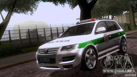 Volkswagen Touareg Policija für GTA San Andreas Innenansicht