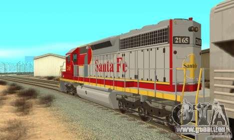 SD40 Santa Fe pour GTA San Andreas sur la vue arrière gauche