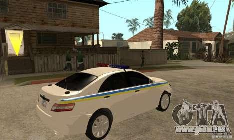Toyota Camry 2010 SE Police UKR pour GTA San Andreas vue de droite