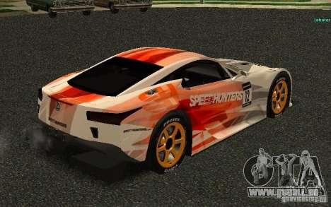 Lexus LFA Speedhunters Edition für GTA San Andreas rechten Ansicht