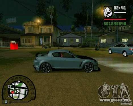 Mazda RX8 JDM Style pour GTA San Andreas sur la vue arrière gauche